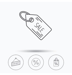 Discounts gift bag and sale coupon icons vector