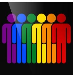 Color logotype six man lgbt movement rainbow flag vector