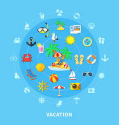 Summer travel icons composition vector