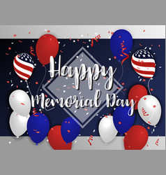 Happy memorial day background design with balloon vector