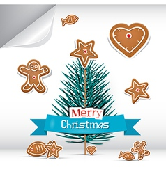 Merry Christmas Background with Gingerbread vector image