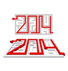 Red arrow in the labyrinth as a number 2014 vector