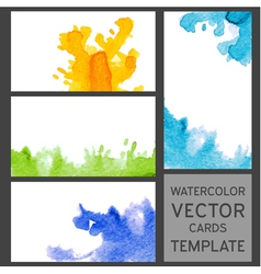 Set of grunge watercolor visit cards templates vector