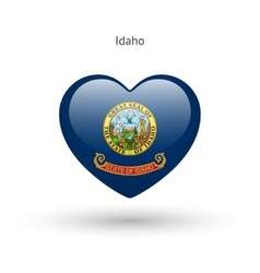 Love idaho state symbol heart flag icon vector