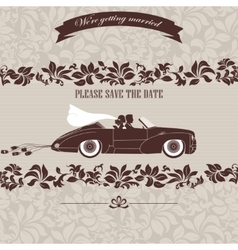Wedding invitation the bride and groom in car vector