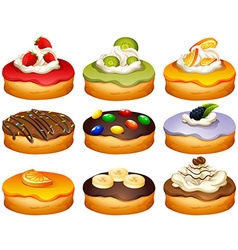 Donut in different flavors frosting vector