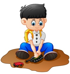 Cartoon little boy playing tank vector