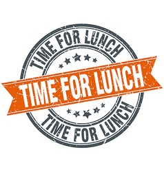 Time for lunch round orange grungy vintage vector