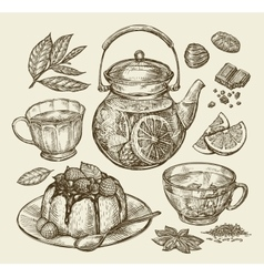 Food dessert drinks hand drawn teapot tea vector