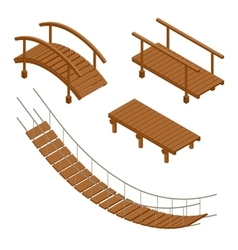 Hanging wooden bridge wooden and hanging bridge vector