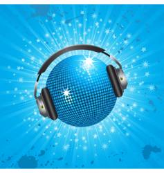 blue disco ball and headphones vector image vector image