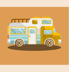 camping bus or camper van motorhome car or vehicle vector image vector image