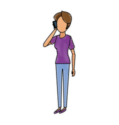 cartoon woman talking smartphone standing people vector image