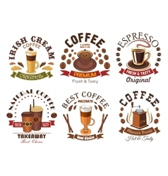Coffee icons for cafe signboard emblem vector
