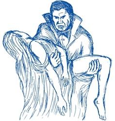 Count dracula or vampire carrying his prey vector