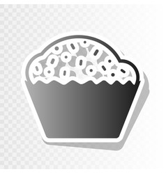 Cupcake sign new year blackish icon on vector