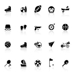Extreme sport icons with reflect on white vector image