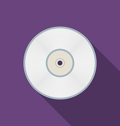 Flat design compact disc icon with long shadow vector image vector image