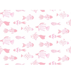 Gentle pink fishes hand drawn seamless pattern vector image