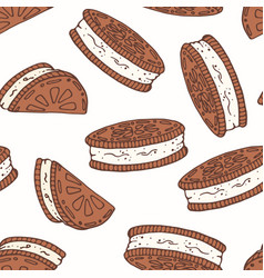 Hand drawn seamless pattern with chocolate cookies vector