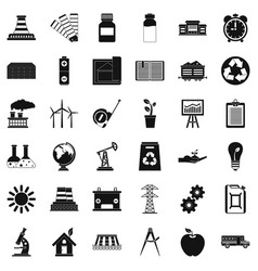 Industrial company icons set simple style vector
