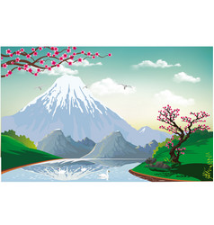 Landscape - sakura on the river bank vector
