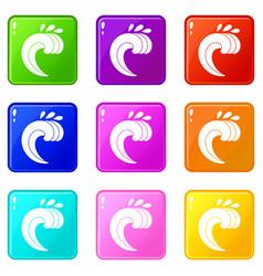 Large curling wave set 9 vector