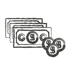 monochrome blurred silhouette of money bills and vector image vector image