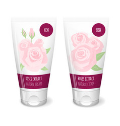 Rose cosmetics white tube vector