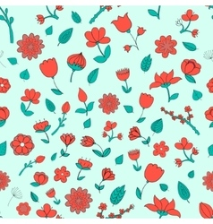 Seamless pattern red fowers vector