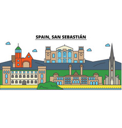 spain san sebastian city skyline architecture vector image vector image