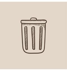Trash can sketch icon vector image