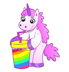 Unicorn drinks rainbow cocktail vector
