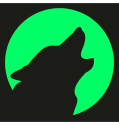 Wolf and moon silhouette vector