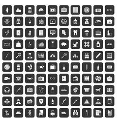 100 case icons set black vector