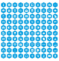 100 database and cloud icons set blue vector image