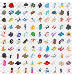100 gear icons set isometric 3d style vector image vector image