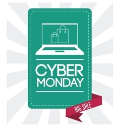 Laptop shopping bag and cyber monday design vector
