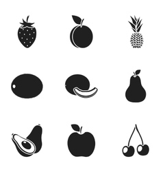 Fruits set icons in black style big collection of vector