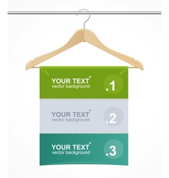 Coat hanger wood like text headers vector
