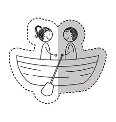 young couple avatars drawing vector image
