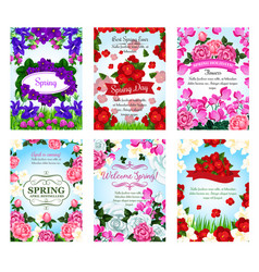 Springtime greeting cards spring flowers bouquets vector