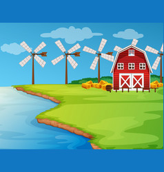 scene with windmills on the field vector image