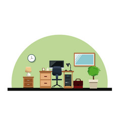 office interior desk chair computer lamp mirror vector image