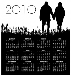 2010 people grass couple calendar vector image vector image