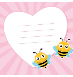 Two flying bees and heart shape vector