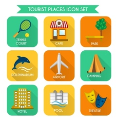 Tourist places icon set vector