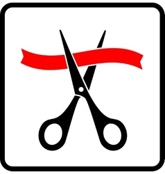 Black scissors cutting red ribbon vector