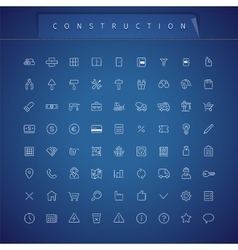 Construction thin icons set vector