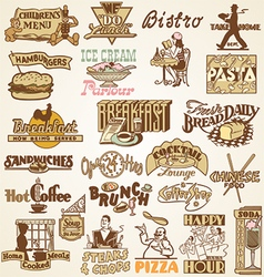 Retro vintage labels restaurant vector